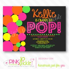 About to POP Neon Girl Invitation or Thank by PinkPickleParties, $10.00