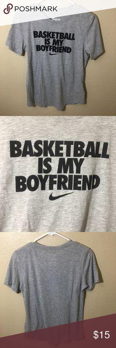Nike Dri Fit Basketball Graphic T Shirt Nike Gray Dri Fit Graphic T Shirt  Basketball Is My Boyfriend Size Medium  Short Sleeve Nike Tops Tees - Short Sleeve