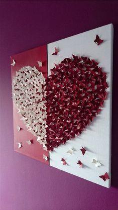 Wanddeko - 3D-Schmetterlingsherz Bild auf Leinwand - ein Designerstück von Cherryviolett bei DaWanda (Diy Paper Butterflies)