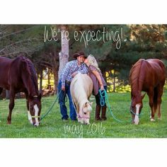 Our pregnancy announcement. I always knew I wanted to use our horses and a pony to share the news with our friends and family. I'm so happy with the way it turned out. #pregnancyannouncement