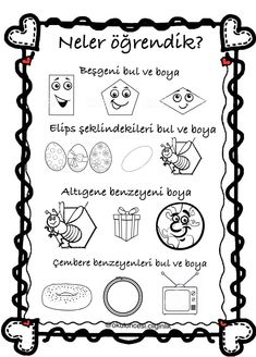 Şekiller Shapes For Kids, Preschool Activities, Montessori, Coloring Pages, Kindergarten, Bullet Journal, How To Plan, Shapes For Toddlers, Quote Coloring Pages