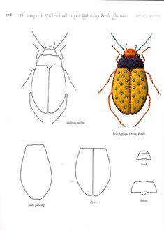 Stumpwork beetle by mulberry leaves, via Flickr