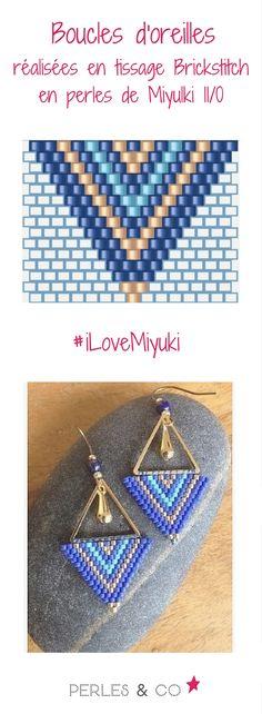 On adore le tissage de perles Miyuki. Retrouvez ce tutoriel de boucles d'oreilles or et bleu au motif géométrique sur Perles & Co >> https://www.perlesandco.com/Boucles_d_oreilles_tissage_brickstitch_Miyuki_Delicas-s-2694-6.html