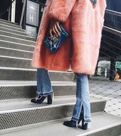 Fall winter inspiration | Ankle boots | Shoes | Heels | Velvet | Pink furry coat | Flared jeans | More on Fashionchick