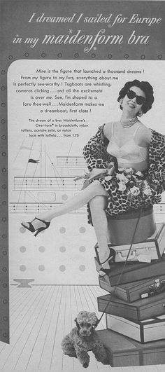 Traveling in leopard coat and lingerie, pearls, rhinestones and sunglasses. With a poodle. She will never need to ask for help with her luggage. 1954.