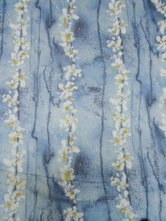 New Arrival! White/Shades of Blue Distressed Floral Stripe Print Crinkle Silk Chiffon 50W