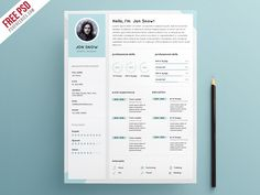 Photographer Resume Cv Psd Template  Resume Cv Psd Templates And