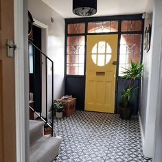 Renovation tour - a house transformed into a stylish boho family home — . - Renovation tour – a house transformed into a stylish boho family home — Love Renovate - 1920s House, House Design, House, Home And Family, Yellow Doors, House Entrance, Yellow Front Doors, 1930s House, Small Hallways