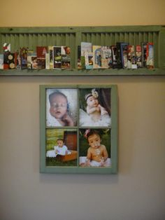 Old Window as picture frame & shutter to hold cards. Great idea for Christmas cards.