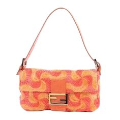 First I laughed, and then I fell in love.  1stdibs | Fendi Orange Beaded Baquette Flap