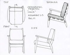 Orthographic drawing of chair - Annisa Noor - Kelas 1 Kelompok 1 Orthographic Projection, Orthographic Drawing, Drawing Furniture, Chair Drawing, Interior Design Companies, Luxury Interior Design, Stencil Designs, Designs To Draw, Drawing Block