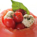 Tomato Mozzarella cups by 1 Fine Cookie, Tomato, mozzarella, cups, bowl, appetizer, healthy, recipes, recipe, balls, cherry, large, basil, balsamic, vinaigrette, oil, ideas, finger, food, portable, new, year's, resolution, diet, olive, basil, herbs, scoop, how to, pulp, inside, stuffed, Italian,