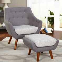 """The rounded shape found in the Murfreesboro Chair allows you to wrap yourself in style, plus paired with the Murfreesboro Ottoman you can relax in style, too. Their striking two tone upholstery and tufted button chair back add to the appeal.  Overall chair dimensions are 28"""" wide x 32.75"""" deep x 34.75"""" high, ottoman dimensions are 23.5"""" wide x 20"""" deep x 16.3"""" high.  Requires some assembly."""