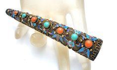 Chinese Export Brooch Fingernail Guard Sterling Silver Enamel Turquoise Coral  #Fingernailguard