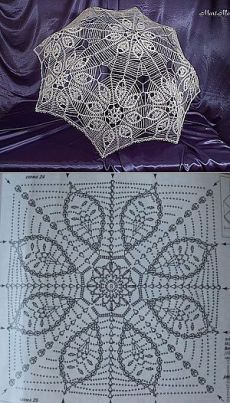 How to create an umbrella from the sun - Fair Masters - handmade, handmadeI see this with a satin lining in a strongly contrasting colour, or in graduated thread over a delicate toning silk - several delicious possibilities 🙂 Crochet Applique Patterns Free, Crochet Diagram, Lace Patterns, Crochet Motif, Crochet Doilies, Crochet Lamp, Thread Crochet, Lace Umbrella, Lace Parasol