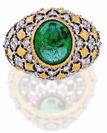 EMERALD AND DIAMOND RING, BUCCELLATI