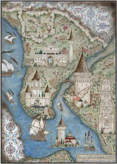 Towers of Istanbul Medieval World, Medieval Art, Old Maps, Antique Maps, Ancient Maps, Istanbul, Turkish Art, Nautical Art, Historical Maps