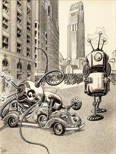 Frank R. Paul - The Robot Aliens, 1935.