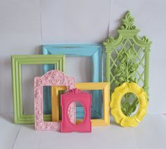 Cute for framing some scrapbook paper - shabby chic your own painted frames  colors for girl room