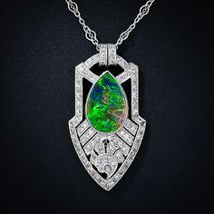 Art Deco Black Opal Necklace - 90-3-4449 - Lang Antiques