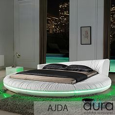 $3999- $4499 The Ajda luxury bed incorporates a modern round bed, with comfortable cushioned high headboard, and integrated sides. Additionally, this bed brings LED lighting, built in speakers, and USB phone chargers. An award winning design in soft, plush, leather to bring comfort and style to your bedroom, and bring out the wow-factor. Queen:278x277x78 King:278x307x78 Californian King: 278x327x78