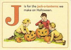 Jenny Matlock: Alphabe-Thursday Letter J Vintage Halloween Cards, Halloween Images, Vintage Holiday, Holidays Halloween, Vintage Cards, Vintage Postcards, Halloween Crafts, Halloween Kids, Fall Crafts