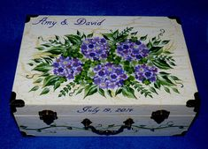 Decorative hand painted purple hydrangeas, pink roses & peonies on white crackle adorn this personalized wedding memory reception invitation trunk card box & is an original by me. Painted purple hydrangeas, pale pink roses, bright pink peonies, white calla lily, white rose, white
