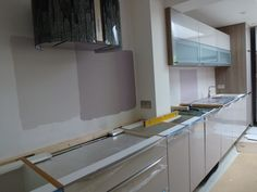 Measuring and preparation for the arrival of new Silestone worktop - Colella Interiors kitchen installation process
