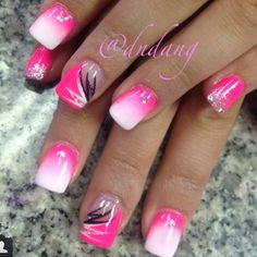 50 Pink Nail Art Designs A pink themed gradient inspired nail design. Pink and white nail polishes are used to create the gradient with black and white polish on top for the details. Hot Pink Nails, Pink Nail Art, White Nail Polish, White Nails, Black Nail, White Manicure, Pink Tip Nails, Pink Summer Nails, Pink Toes