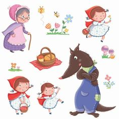 Little Red Riding Hood characters Art Drawings For Kids, Cute Drawings, Art For Kids, Little Red Hood, Red Ridding Hood, Felt Stories, Cute Clipart, Drawing Lessons, Little Pigs
