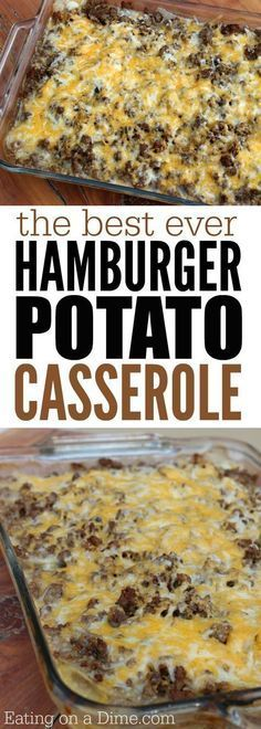 How to make Hamburger Casserole Easy Recipe - Eating On A Dime Looking for easy casserole recipes? Make the best beef casserole you will ever need. Learn How to make Hamburger Casserole that tastes amazing! Everyone loves this potato casserole with meat. Best Hamburger Casserole Recipes, Potatoe Casserole Recipes, Casserole Ideas, Casseroles With Hamburger Meat, Chicken Casserole, Recipes With Hamburger And Potatoes, Taco Casserole, Easy Casserole Recipes For Dinner Beef, Ground Beef Potato Casserole