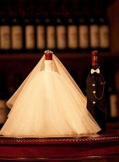 bride groom wine bottle covers