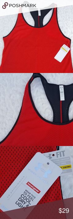 "New Womens Under Armour Racerback Tank Top Large New Womens Under Armor Heatgear Athletic Racerback Tank Top Size Large Red Black  Type: Womens Top Style: Racerback Tank Top Brand: Under Armor Material: 100% Polyester Color: Red, Black Measurements: Armpit to armpit (flat) 18"", Shoulder to hem 26"" Condition: NWT, New with tags Country of Manufacture: Vietnam Under Armour Tops Tank Tops"