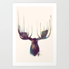 Moose Art Print by Amy Hamilton - $17.00 what do you think of this artwork for our Washington house? @Jenna McMillian