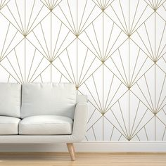 Art Deco Wallpaper - Sun Burst Gold On White By Anvil Studio - Gold Custom Printed Removable Self Adhesive Wallpaper Roll by Spoonflower