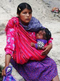 Beautiful Tarahumara girl - babywearing in a rebozo.