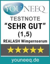 REALASH Wimpernserum Test Testsiegel Youneeq
