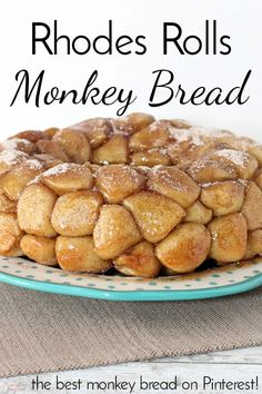 This monkey bread is sticky, sweet and so soft and fluffy inside. It tastes so m… This monkey bread is sticky, sweet and so soft and fluffy inside. It tastes so much better than monkey bread make with biscuits! Homemade Monkey Bread, Cinnamon Roll Monkey Bread, Monkey Bread Easy, Monkey Bread Crockpot, Cinnamon Pull Apart Bread, Rhodes Dinner Rolls, Rhodes Rolls, Rhodes Cinnamon Rolls, Frozen Biscuits
