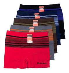 Mens Seamless Athletic Style Stretch Boxer Briefs Assorted Color 6 Pack One  Size Fits Approx S d990dd8edb0