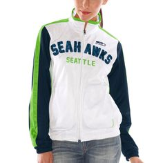 Seattle Seahawks Women's Sideline Track Full Zip Jacket White....I need this!!!!
