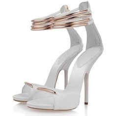 POSH GIRL White And Gold Kitten Heels Sandals ($128) ❤ liked on Polyvore