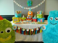 monster first birthday party supplies Monster First Birthday, Monster 1st Birthdays, Monster Birthday Parties, Baby First Birthday, First Birthday Party Supplies, 2nd Birthday Party Themes, Halloween Party Themes, First Birthday Parties, Birthday Ideas