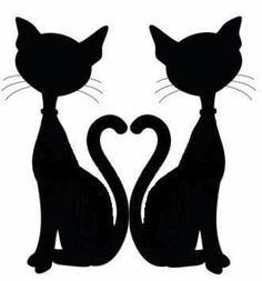 Another pinned says: Idea for a door topper - the original clipart was a single cat silhouette and was not mine. I just did the mirror image of it to create the heart. Silhouette Chat, Silhouette Portrait, Mermaid Silhouette, Cat Quilt, Applique Patterns, Silhouette Projects, Art Plastique, Digital Stamps, Cat Art
