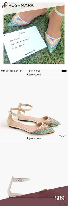 💗J. CREW CHEVRON GLITTER ANKLE STRAP FLATS, 8💗 💗J. CREW LIKE BRAND NEW, ONLY WORN FOR 2 HOUR SPRING FASHION SHOW~COMPLETELY SOLD OUT ON LINE AND IN STORES. A $150 VALUE AVAILABLE HERE FOR A FRACTION OF THAT. DO NOT DELAY, BUY TODAY! SIZE 8💗 J. Crew Shoes Flats & Loafers