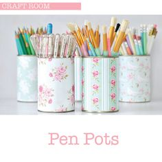 Because sometimes our writing supplies need cute homes, too. Fun little tutorial for pen pots via  toriejayne