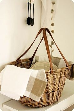 Basket holding taupe