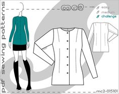 PDF Sewing Patterns for Women Classic Close-Fit Box Jacket No-Collar Sloper Block > by mc2patterns > S-M-L Small-Medium-Large > mc2-015101 > Instant Download - JUST CLICK