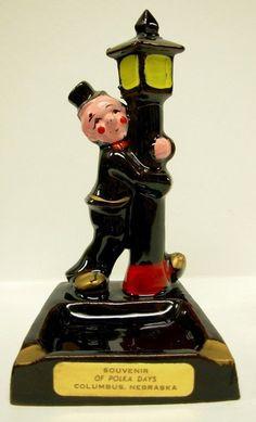 Ash Tray Clown Lamp Post Souvenir Polka Days by Snowyowltreasures