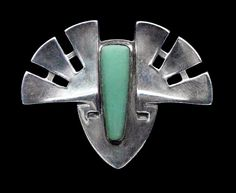 This is not contemporary - image from a gallery of vintage and/or antique objects. PATRIZ HUBER 1878-1902  Jugendstil Brooch for Theodor Fahrner & Murrle Bennett & Co  Silver Jade
