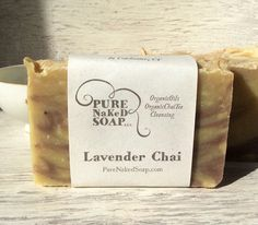 Organic lavender & chai meet in a soap blend of organic oils containing 40% extra virgin organic olive oil. This is a vegan cold process soap, cured for at least 4 weeks! This soap is made with a blend of moisturizing organic & natural oils! by #PureNaKeDSoap on #etsy #organicskincare